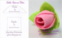 Felt rose handmade by Gracinhas Artesanato Pattern and tutorial in my blog gdores.blogspot.com