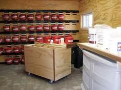 Horse feed room organization. Love the organization, but it would take up so much room.