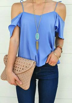 periwinkle off the shoulder shirt