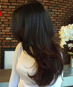 Long Layered Hair Hair styles Brunette+Layered+Hairstyle+For+Long+Hair Curly Hair Styles, Medium Hair Styles, Natural Hair Styles, Medium Black Hair, Black Hair Dye, Long Black Hair, Black Hair Makeup, Thick Long Hair, Hair Color Ideas For Black Hair