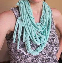 braided scarf made from an old t-shirt...no sewing!!