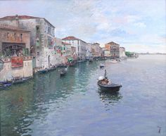 Jose Luis Checa Galindo Original Oil Painting Venice Boats Figures Sea Signed Venice Boat, Boats, Oil, The Originals, Antiques, Painting, Antiquities, Antique, Ships