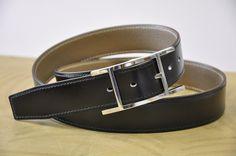 Ceinture sur-mesure pour une boucle Hermès en box noir, couture fil gris. a76c6c3845a