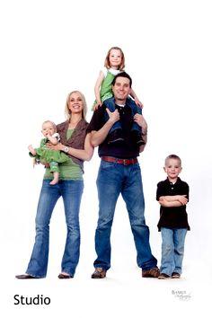 fun white background family picture