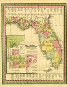 ALENA & STELLA VACATION HOMES  On March 3, 1845, the United States Congress approved the act establishing statehood for Florida. This map shows Florida about the time it entered the Union as the 27th state.