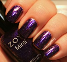 "Sparkling purple nail polish.  #glittery    "":O)"
