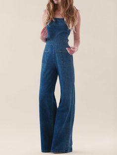 80d88826348 Blue Strapless Pockets Denim Jumpsuit Jean Flare
