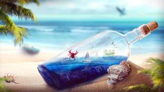 beach bottle ocean hd wallpapers download