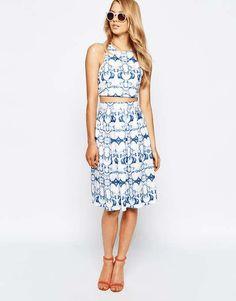 Ginger Fizz | Remember Paris Midi Skirt In Mirror Print #gingerfizz #midi #skirt