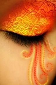 Art orange. Orange eye makeup.