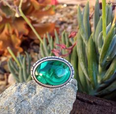 Malachite Ring. Oval Stone. Green. Size 9.5 by Arrok on Etsy