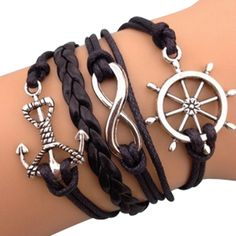 Black Sailor Arm Party Bracelet