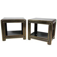Ebonized And Brass Maison Jansen Side Tables   From a unique collection of antique and modern side tables at http://www.1stdibs.com/furniture/tables/side-tables/