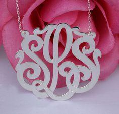 Large Sterling Silver Monogram Necklace