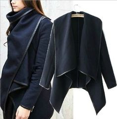 Westernism Funnel Neck Irregular Wool Coat with PU Trimmed Women Fashion Casual Woolen Jacket Coat