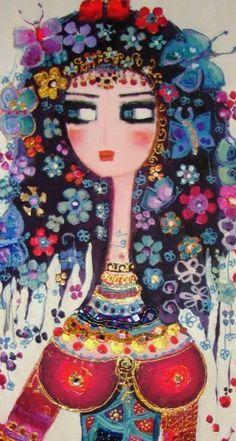 Canan Berber Turkish Art, Whimsical Art, Female Art, Collage Art, Watercolor Art, Folk Art, Abstract Art, Illustration Art, Creations