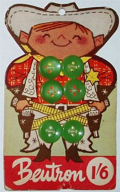 Cutie Cowboy Mid Century Button card from the Beutron company ~ Australia.