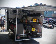 Inside Enclosed Go Kart Trailer