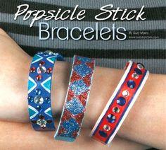 Cute bracelets made from popsicle sticks!  Fun tutorial!