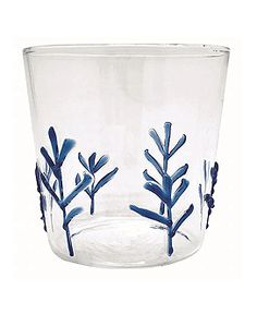Mariposa - Mariposa Drinkware: Ethereal blue appliqué branches adorn these sophisticated yet whimsy blue double old fashion glasses, creating a delicate application of design. Strong borosilicate glass has never looked so good! Branches, Applique, Old Fashioned Glass, Drinking Glass, Colored Glass, Wine Glass, Delicate, Blue And White, Drinkware