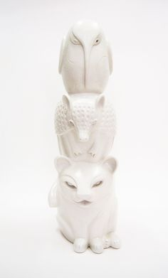 Totem, art, ceramics, sculpture, unique, hand built, symbols, puma, armadillo, colibri. By Aura Kajas, 2013