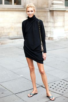 Black turtleneck dress. Via fashionclue