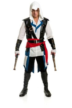 Cutthroat Pirate The Cutthroat Pirate costume features a hooded gauze shirt, leather vest, arm guards, sash, cross belt and detached tail. Pants, boots and pistols are nnot included.