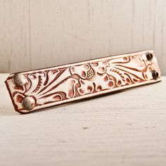 SALE Tooled Leather Embossed Stamped Carved Bracelet Accessories. $25.00, via Etsy.