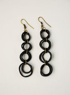 black polymer clay ring earrings by thewaiwai on Etsy photography