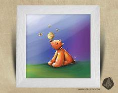 Cadre carré 25x25 avec Illustration Bébé Ours et abeilles pour