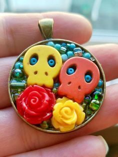 Click to see this plus more colorful skull pendants!
