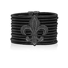 Leather Bracelet with Fleur-de-Lis, scottkay.com