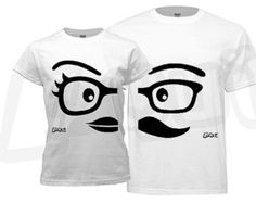 Couple T-shirt - his and hers, White Mustache / Glasses / Nerd theme. Unique gifts for couples Valentine's, Anniversary, Wedding, Honey Moon