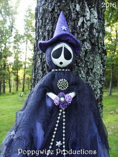 "OOAK Primitive HALLOWEEN Folk Art Tattered Witch Ghost Doll 45"" Long * POPPYWISE #NaivePrimitive"