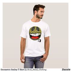 Shop Geometric T Shirt created by Acid_Head_Clothing. Head Clothing, Smiley, Face, Pattern, Mens Tops, T Shirt, Shopping, Clothes, Fashion