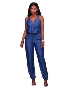2018 Woman Summer Jumpsuit Jeans Jumpsuit Sleeveless Sexy Female Elegant  Casual Lace Up V-neck 94953b1eab75