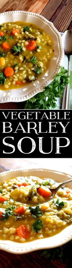 Diet Fast - 2 Week Diet - vegetable-barley-soup (Fast Diet Daniel) A Foolproof, Science-Based System that's Guaranteed to Melt Away All Your Unwanted Stubborn Body Fat in Just 14 Days.No Matter How Hard You've Tried Before! Healthy Soup Recipes, Chili Recipes, Vegetarian Recipes, Cooking Recipes, Vegan Soups, Fast Recipes, Savoury Recipes, Delicious Recipes, Tasty