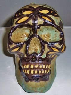Harmony of the DragonflyHandmade Lidded Skull by LeavesofRed, $80.00  Perfect for holding an entire bag of treats.