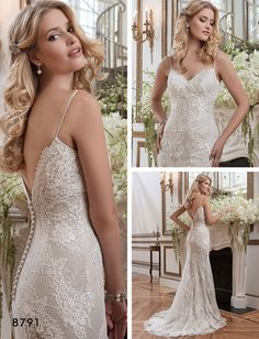 This romantic Justin Alexander gown features chantilly lace and a sheath style silhouette. Style #8791