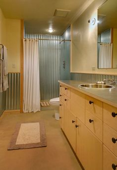 corrugated steel shower and corrugated accent on wall for guest bath