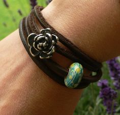 Rose on leather by mermaidspurse on Beadthrilled
