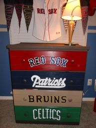 sports dresser - not using these specific teams but a great idea for Eli's dresser!