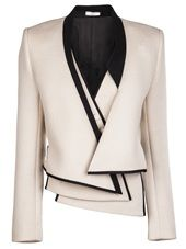 Natte de Laine jacket in ivory from Bouchra Jarrar Vault. This fitted wool jacket features black satin trimming, long sleeves, padded shoulders, and a tonal su… Fashion Details, Fashion Design, Fashion Trends, Bouchra Jarrar, Vintage Kimono, Jackett, Jacket Style, Pink Jacket, Blazer Jacket