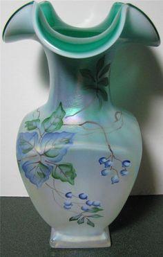 Fenton Green & Blue Opalescent Vase Signed by Bill Fenton