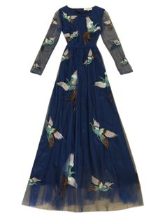 Choies Limited Edition Phoenix Embroidery Long Sleeves Maxi Dress   Choies