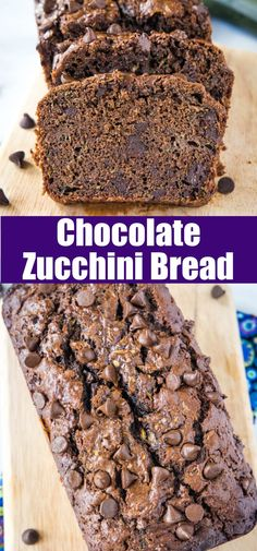 Chocolate Zucchini Bread - Rich and chocolatey bread that uses all of that summer zucchini. You will never know there are veggies in there! Savory Zucchini Bread, Chocolate Zucchini Bread, Best Homemade Bread Recipe, Easy Bread Recipes, Sweets Recipes, Fall Recipes, Yummy Recipes, Healthy Recipes, Basic Butter Cookies Recipe