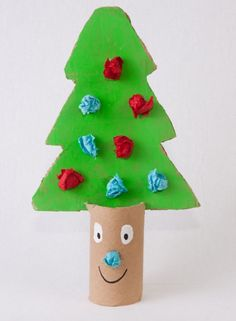 So cute and so simple. Cut a tree shape from card and paint green, then decorate. Then cut a toilet roll and make a slit in the top to stand the tree. Googly eyes finish off the fun tree perfectly.