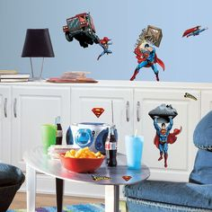 DC Comics Superman Wall Decals ($29) ❤ liked on Polyvore featuring costumes, multicolor, comic costumes, adult cartoon character costumes, colorful halloween costumes, adult costume and adult superman costume
