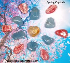 Spring Crystals  We put together some crystals/minerals that bring to mind spring. IN the photo are Rhodochrosite, Aquamarine, and Citrine.   www.healingcrystals.com/advanced_search_result.php?dropdown=Search+Products...&keywords=Rhodochrosite  www.healingcrystals.com/advanced_search_result.php?dropdown=Search+Products...&keywords=aquamarine  www.healingcrystals.com/advanced_search_result.php?dropdown=Search+Products...&keywords=Citrine  Code HCPIN10 = 10% off your order