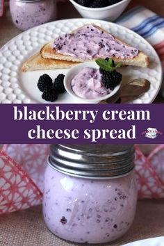 This blackberry cream cheese spread recipe is quick and delicious! A delicious brunch or breakfast recipe. cheese desserts for cream cheese for two cream cheese Jam Recipes, Canning Recipes, Fruit Recipes, Dessert Recipes, Breakfast Recipes, Blackberry Recipes Breakfast, Black Berry Recipes, Drink Recipes, Recipes